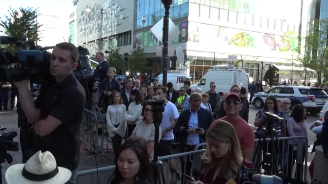 a large crowd of bystanders and members of the media waits to see us actress felicity huffman as she leaves court after being handed a 14 day prison... - courthouse stock videos & royalty-free footage