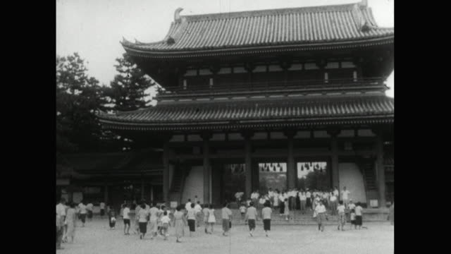 ws large crowd of people in heian shrine gate in kyoto; 1959 - 1959 stock videos & royalty-free footage