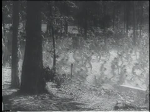 b/w 1943 large crowd of shirtless men running down hill / us navy cadets - shirtless stock videos & royalty-free footage
