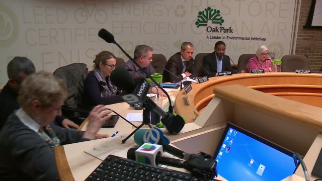 wgn a large crowd packed a village board meeting in oak park a village adjacent to the west side of chicago on feb 6 2017 as the board considered a... - sanctuary city stock videos & royalty-free footage