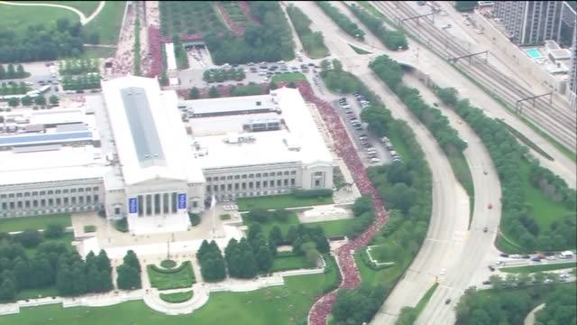 WGN Large Crowds Of People Flood Out Of Soldier Field After Blackhawks Rally on June 18 2015 in Chicago Illinois