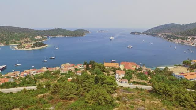 AERIAL Large cruise ship approaching Komiza on Vis island