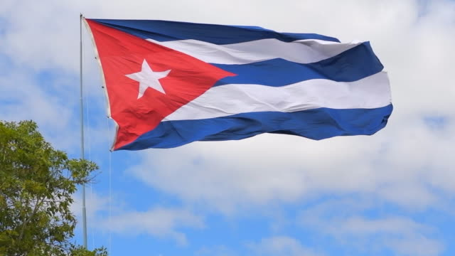 large cuban flag waving in the wind - government stock videos & royalty-free footage