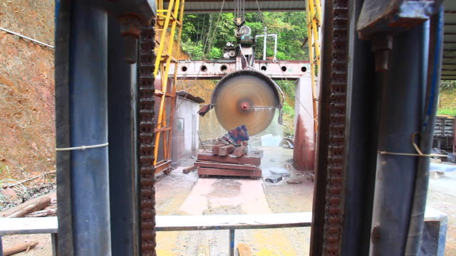 large cutting machine for cutting stone - quarry stock videos & royalty-free footage