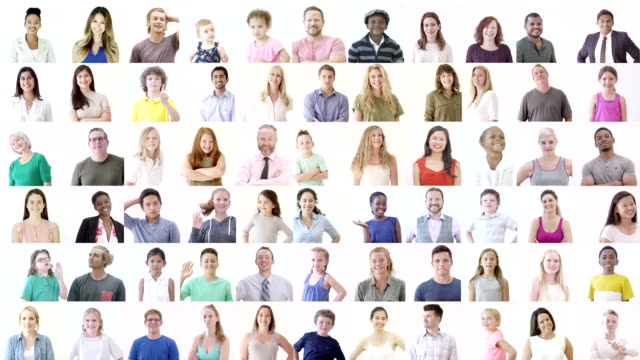 large diverse group of happy people - composite image stock videos & royalty-free footage