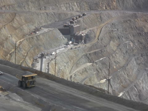 ntsc large dump truck hauling iron ore in a mine - copper mine stock videos and b-roll footage