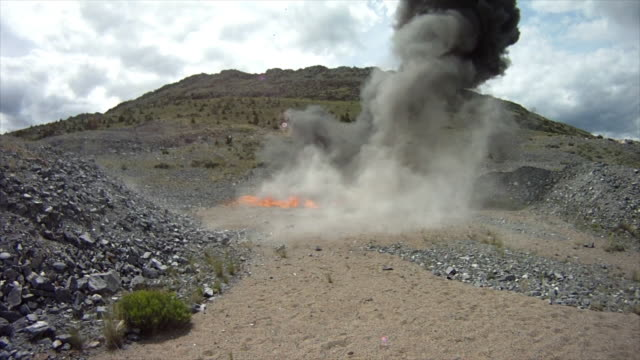 Large fiery explosion at blasting area.