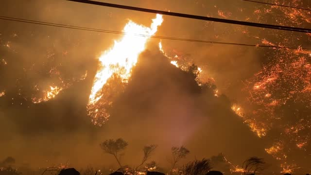 large fires burn the hill side in cleaveland national forest in silverado canyon, orange county, california. the fire brigade attempt to fight it. - western usa stock videos & royalty-free footage
