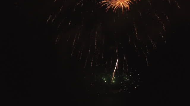 Large fireworks by camera, Aerial, 4K, 27s, 8of20, Fireworks, 4th of July, New Year, Explosion, Celebration, Holiday, Night, Lake, firework show, Reveal, Stock Video Sale - Drone Discoveries llc Drone Aerial View