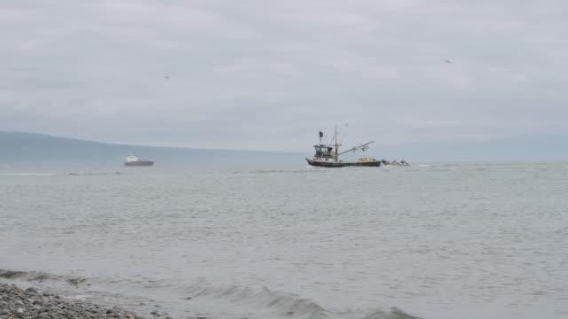 Large fishing boat returning