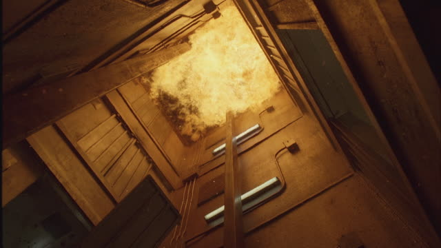 ms large flames exploded in elevator shaft - lift stock videos & royalty-free footage