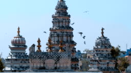A large flock of pigeons fly over Old Rangji Temple and sit on its dome