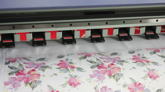 ecu a large format ink jet printer/xian,shaanxi,china - floral pattern stock videos and b-roll footage