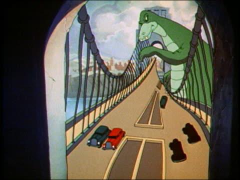 1942 animation large green monster destroying and walking through bridge - モンスター点の映像素材/bロール