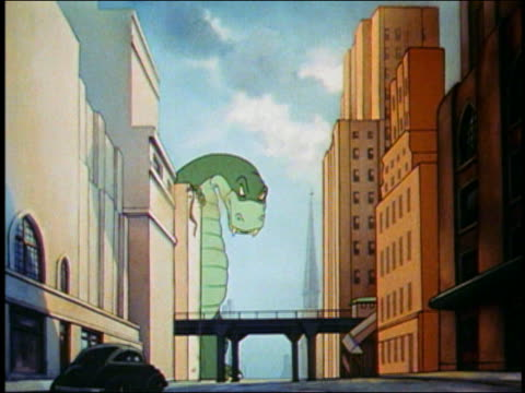 vidéos et rushes de 1942 animation large green monster stomping on elevated train tracks - un seul animal