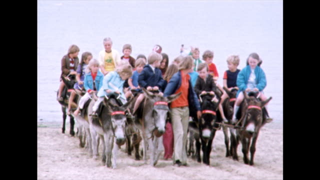 large group of children ride donkeys on beach; 1975 - obedience stock videos & royalty-free footage