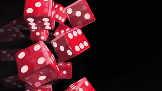 vídeos y material grabado en eventos de stock de cgi, slo mo, large group of dice falling, studio shot  - oportunidad