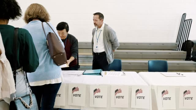 large group of diverse voters wait in long line to receive ballot - american politics stock videos & royalty-free footage