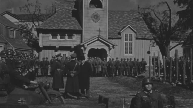 ms large group of nazis soldiers and officer standing in front of church - german military stock videos & royalty-free footage