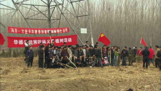 vidéos et rushes de ws large group of people gathering for photo at tree planting ceremony / beijing, china - socialisme