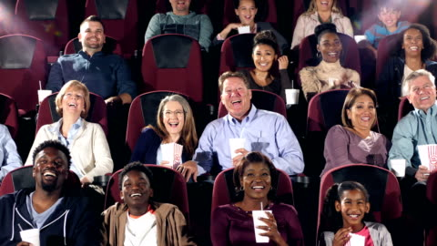 large group of people in movie theater watching comedy - audience stock videos & royalty-free footage