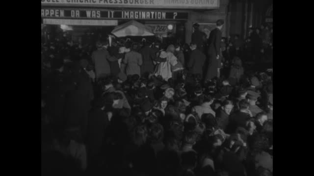 vs large group of people jostling outside theater with mounted policemen / marquee reading michael powell emeric pressburger did it really happen or... - film premiere stock videos & royalty-free footage