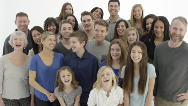 large group of people on a white background - fatcamera stock videos and b-roll footage