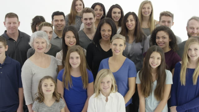 large group of people on a white background - human age stock videos & royalty-free footage