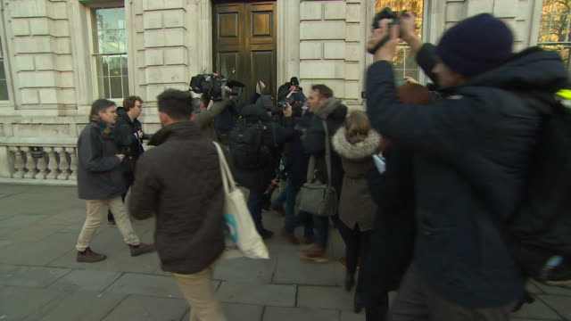 a large group of press follow yvette cooper and hilary benn as they leave whitehall following discussions with theresa may about brexit 17th january... - large group of people stock videos & royalty-free footage