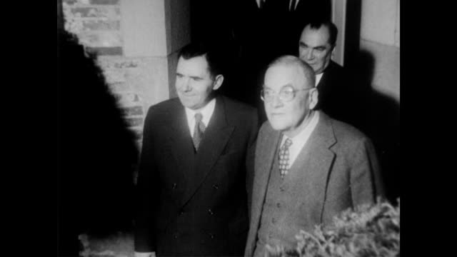 / large group of press in front of secretary of state john dulles personal residence / soviet minister andre gromyko gets out of car and makes way to... - 1957 stock videos & royalty-free footage