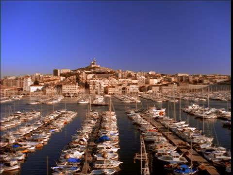 vidéos et rushes de pan of large harbor / marseille, southern france - marseille
