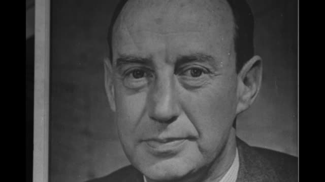large image of adlai stevenson and general election tote board listing presidential and senatorial returns pan to podium with chair stephen a... - adlai stevenson ii stock videos and b-roll footage