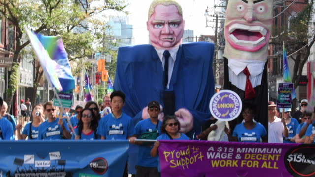 large image of doug ford premier of ontario for the conservative party whose austerity plans conflict with the working class in the province - gewerkschaft stock-videos und b-roll-filmmaterial