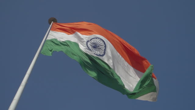 large india flag waving in slow motion - india flag stock videos & royalty-free footage
