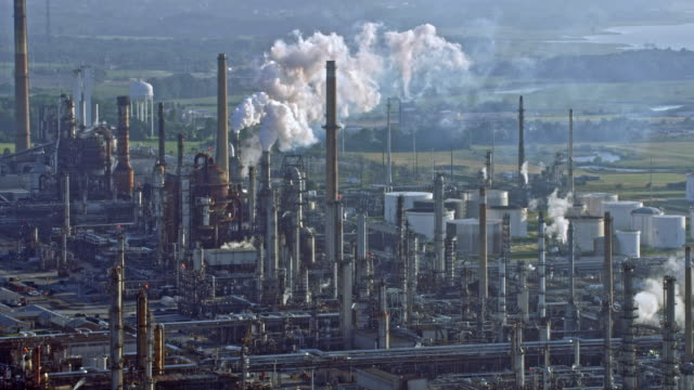 aerial large industrial zone - air pollution stock videos & royalty-free footage