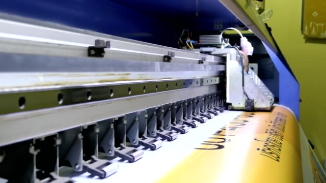 large inkjet printer cmyk format working on vinyl - printing plant stock videos & royalty-free footage