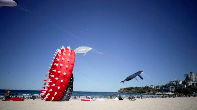 Large kites take to the sky during the Festival of the Winds in Bondi on September 9 2018 in Sydney Australia Festival of the Winds is Australia's...