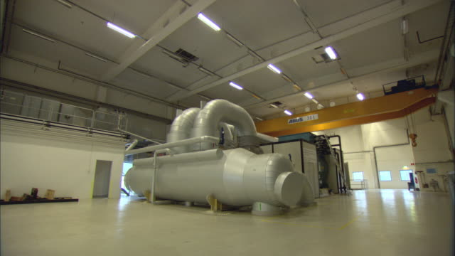 ws large machine inside systems room at biomass plant / vaxjo, sweden - vaxjo stock videos & royalty-free footage