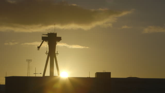 large machinery and building silhouette - belfast stock videos & royalty-free footage