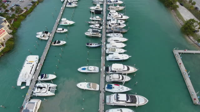 large marina with various yachts and boats,miami - marina stock videos & royalty-free footage