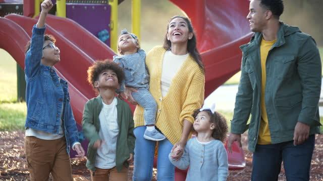 vídeos de stock e filmes b-roll de large mixed race family at playground - família com quatro filhos