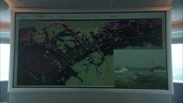 A large monitor displays shipping lane traffic.