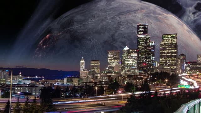 large moon rising over seattle city skyline - adobe after effects stock videos and b-roll footage