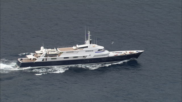 Large Motor Yacht On Way To Monaco