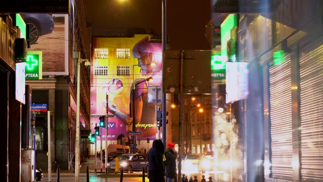 large mural with an advertisement for the much anticipated cyberpunk 2077 game by cd projekt red is seen in warsaw, poland on january 5, 2021.... - computer equipment stock videos & royalty-free footage