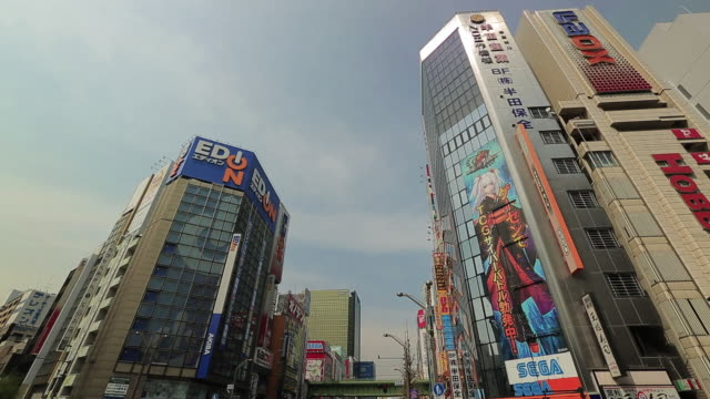 Large numbers of people at the Chuo Street (Chuo-dori) intersection in Akihabara