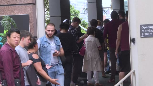 large queues wait outside two sydney welfaresupport offices as unemployed workers and those affected by the coronavirus try to access the service - unemployment queue stock videos & royalty-free footage