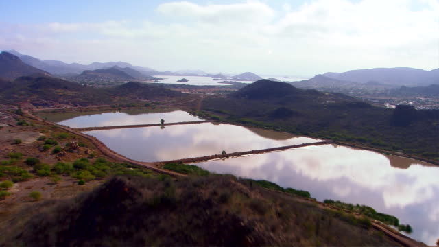 A large reservoir holds water for the city of Cabo San Lucas, Mexcio. Available in HD.