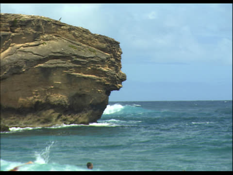 large rock outcropping along shoreline - see other clips from this shoot 1158 stock videos and b-roll footage