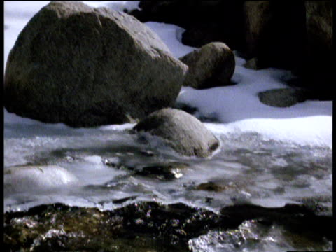 large rocks in snow and ice, tilt down to water flowing in frozen himalayan stream, ladakh - snowing stock videos & royalty-free footage